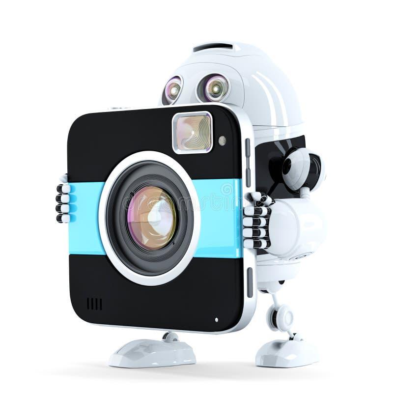 Robot die met digitale camera lopen stock illustratie