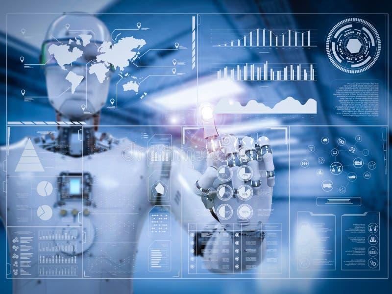 Robot die met digitale vertoning werken stock afbeeldingen