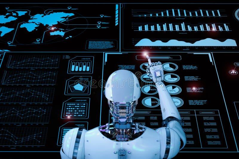 Robot die met digitale vertoning werken stock fotografie