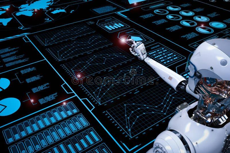Robot die met digitale vertoning werken royalty-vrije illustratie