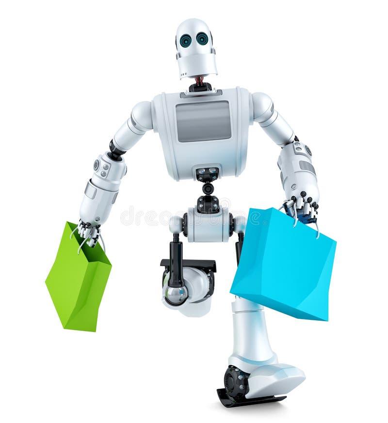 Robot die met het winkelen zak lopen Bevat het knippen weg stock illustratie