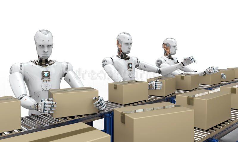 Robot die met kartondozen werken stock afbeeldingen