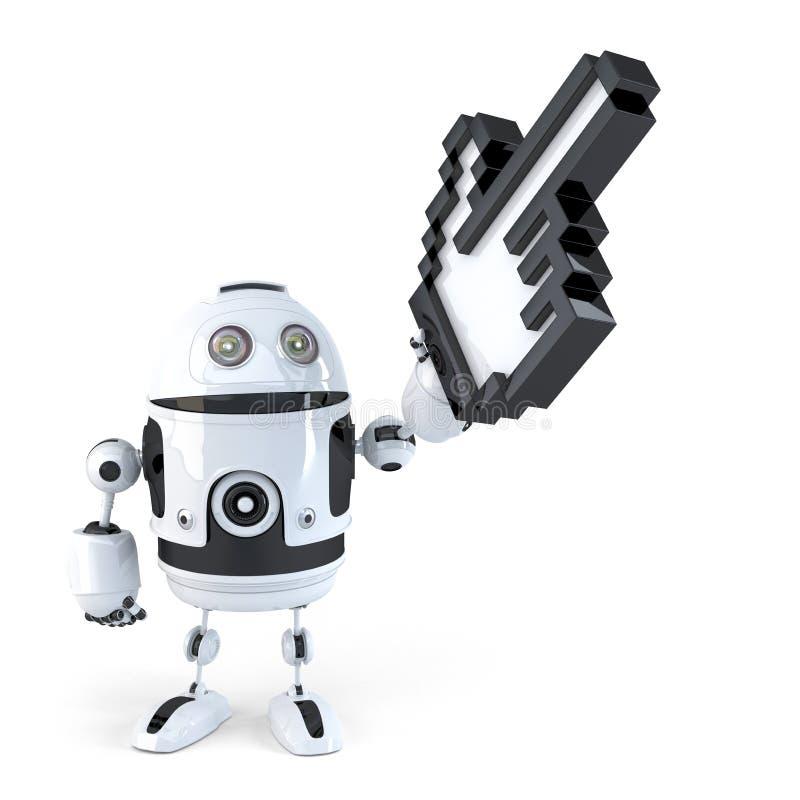 Robot die met reusachtige curseur richten Geïsoleerde Bevat het knippen weg vector illustratie