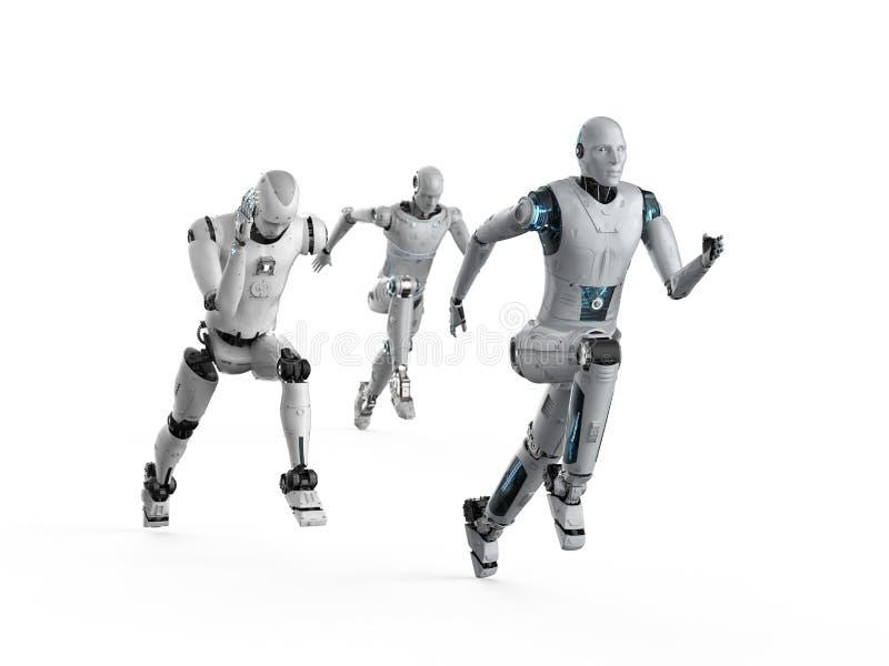 Robot die met snelheid lopen stock illustratie