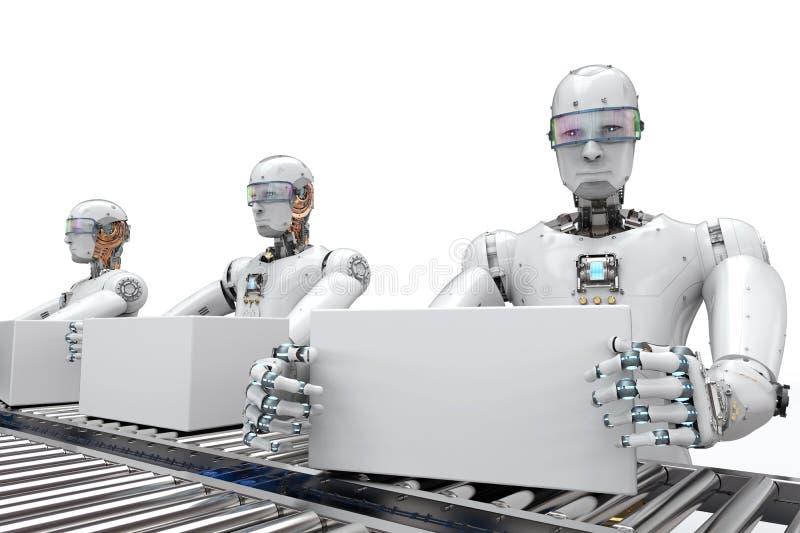 Robot die met witte dozen werken royalty-vrije illustratie