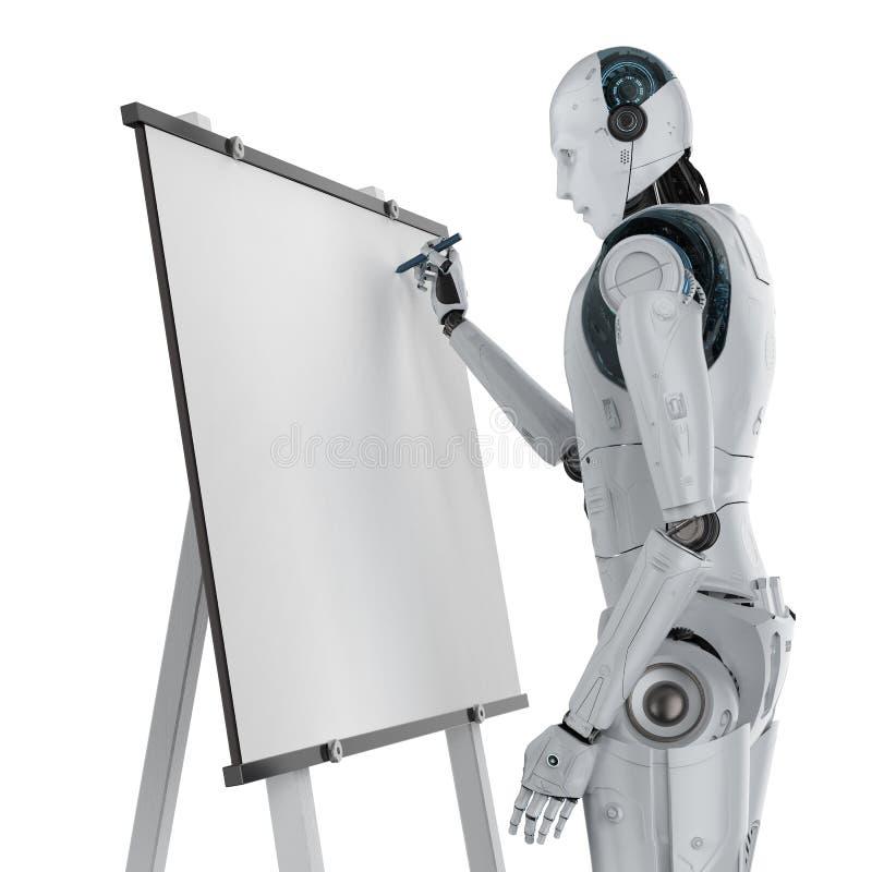 Robot die op canvas trekken stock foto's