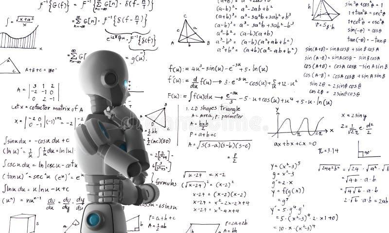 Robot die of problemen, kunstmatige intelligentie leren oplossen royalty-vrije illustratie