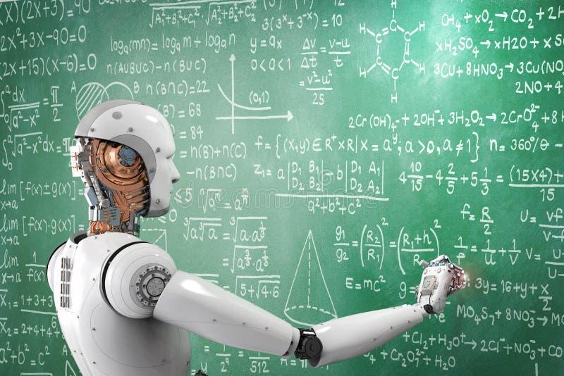 Robot die of problemen leren oplossen stock illustratie