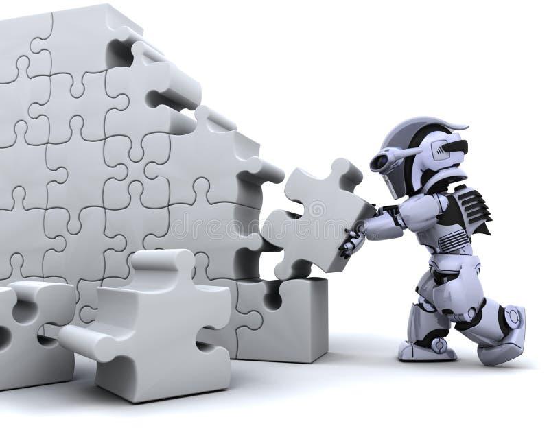 Robot die puzzel oplost royalty-vrije illustratie