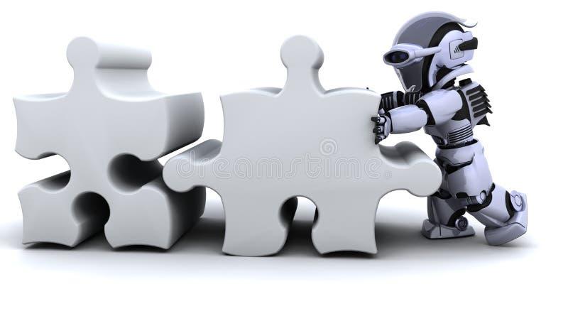 Robot die puzzel oplost vector illustratie