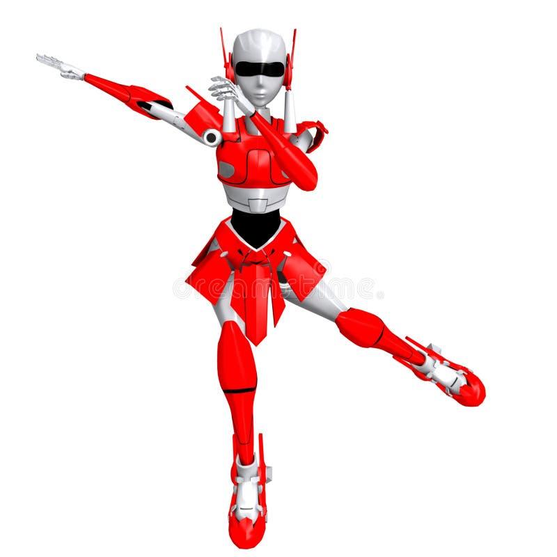 Robot die rollerblade 1 spelen royalty-vrije illustratie