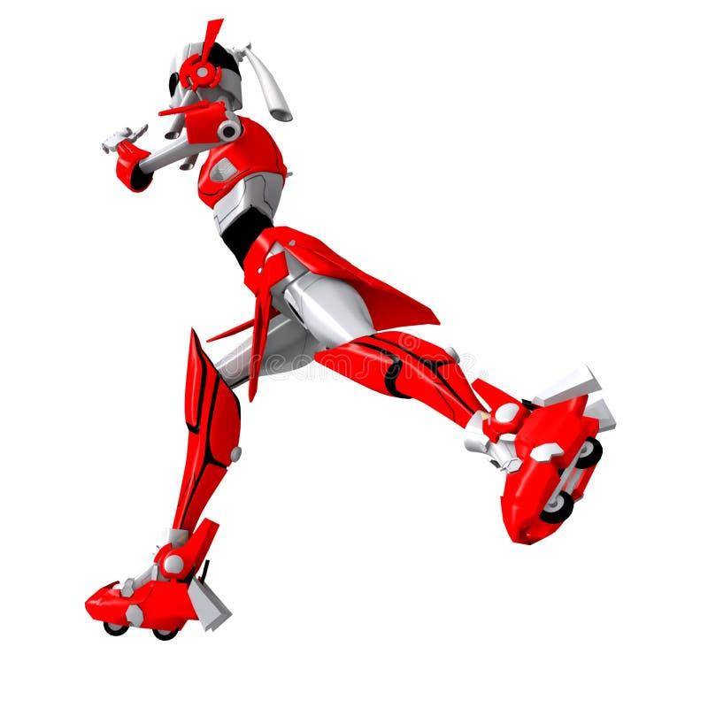 Robot die rollerblade 2 spelen vector illustratie