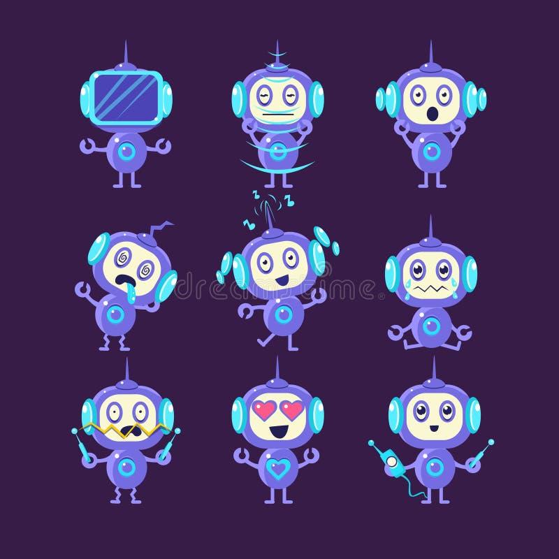 Robot Different Emotions Set stock illustration