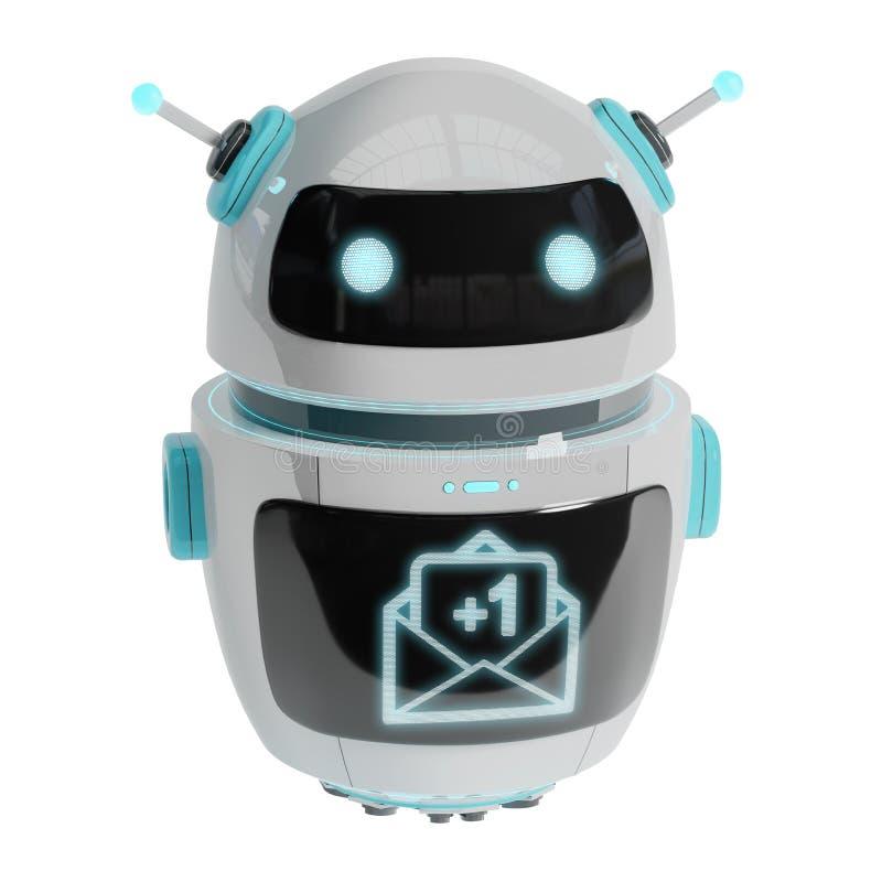 Robot digital futurista que recibe la representación de los correos electrónicos 3D ilustración del vector