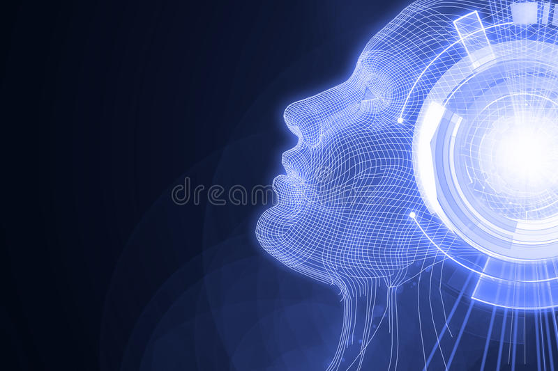 Robot with digital lilac brain vector illustration