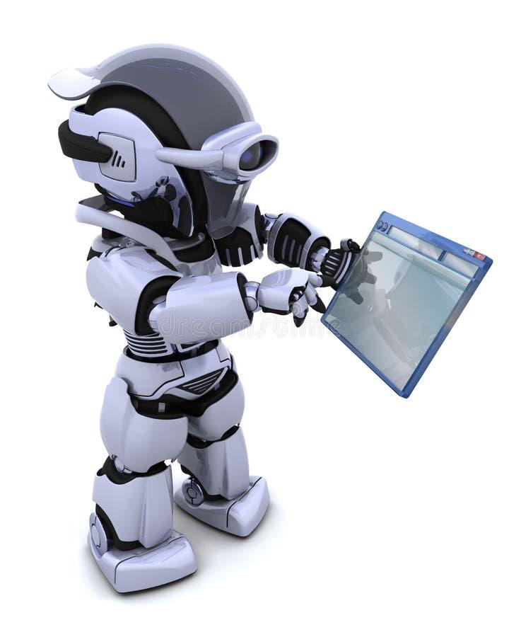 Robot dirigeant par l'hublot d'ordinateur illustration stock