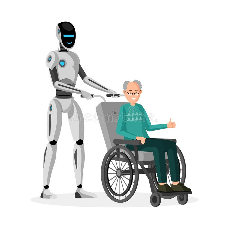 Robot with disabled man flat vector illustration. Cyborg caregiver and handicapped senior in wheelchair characters. Robot with disabled man flat vector stock illustration