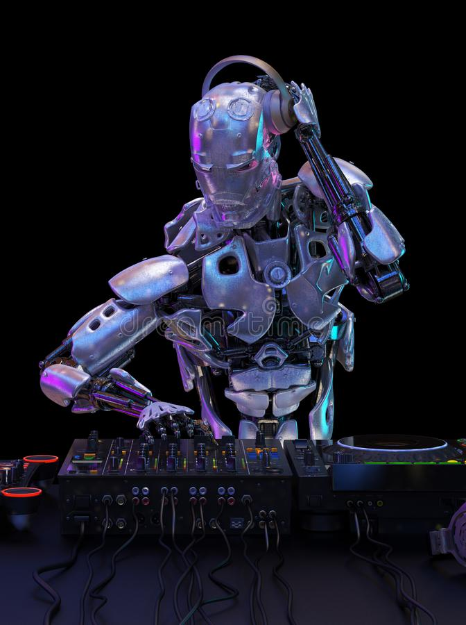 Robot disc jockey at the dj mixer and turntable plays nightclub during party. Entertainment, party concept. 3D illustration stock illustration