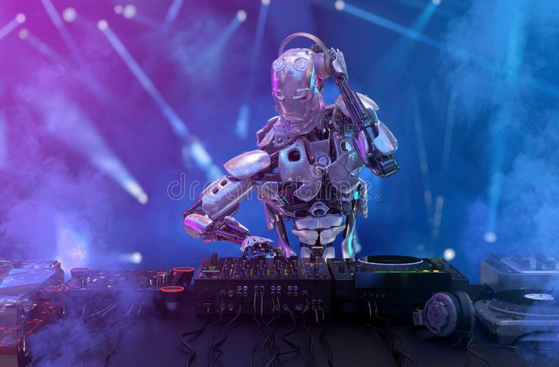 Robot disc jockey at the dj mixer and turntable plays nightclub during party. Entertainment, party concept. 3D illustration royalty free stock images