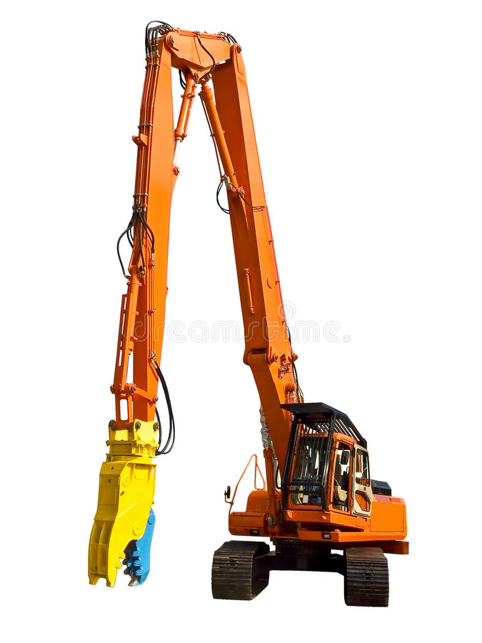 Robot for dismantling. Machine for dismantling of concrete structures stock photography