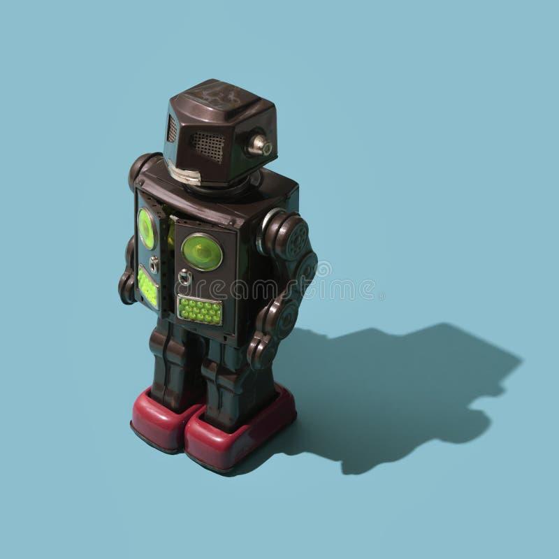 Robot divertido del juguete de la lata del vintage fotografía de archivo