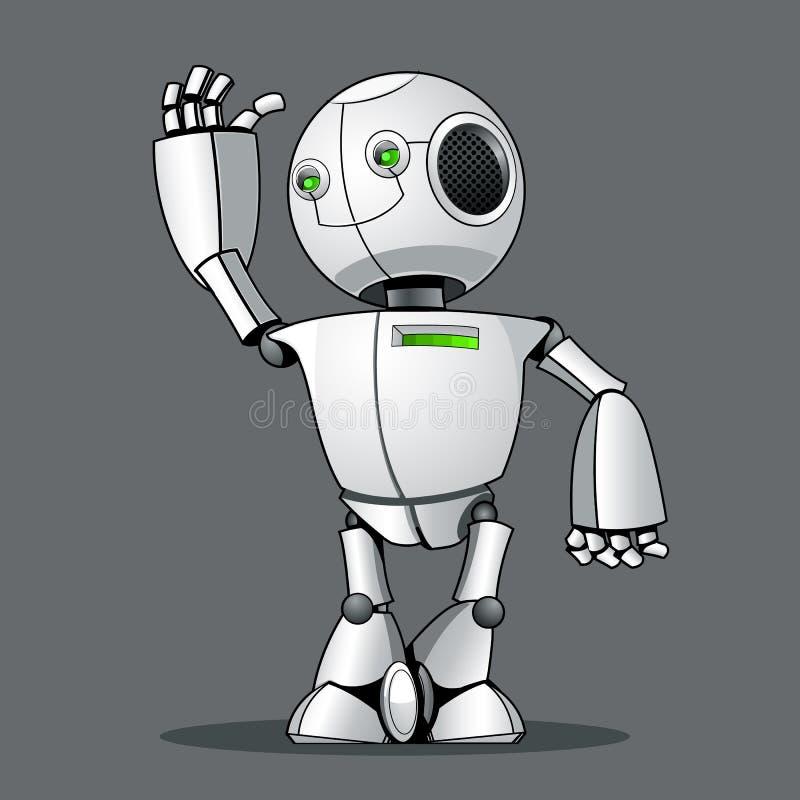 Robot divertido del niño, saludándole ilustración del vector