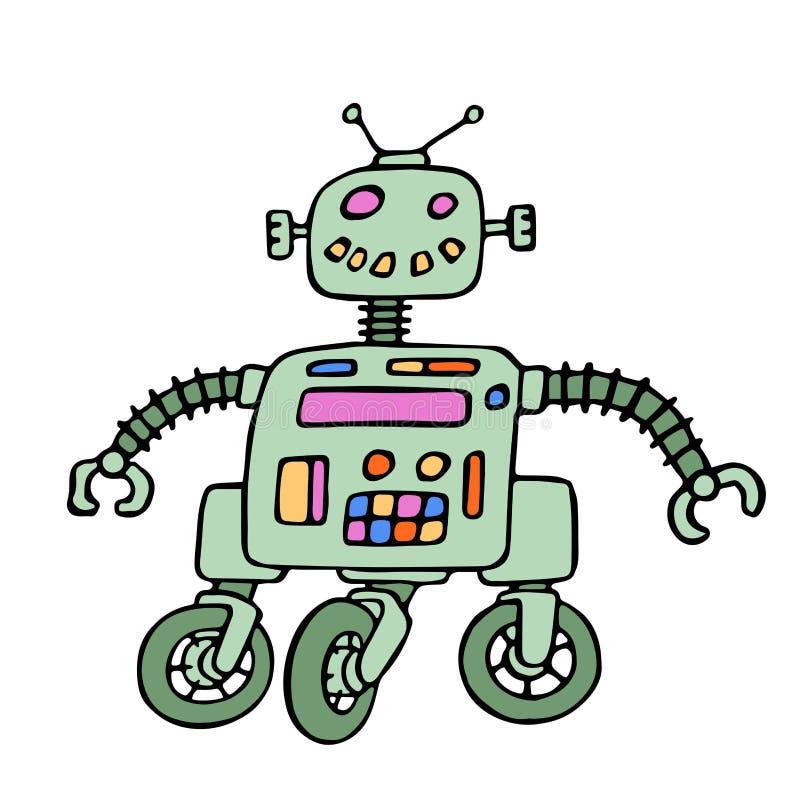 Robot divertido en las ruedas con los ojos rojos Ilustración del vector ilustración del vector