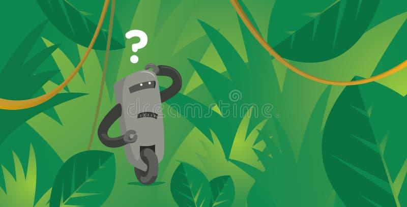 Robot divertido perdido en selva del verde de la naturaleza ilustración del vector