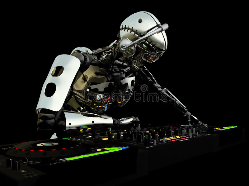 Robot DJ royalty free illustration