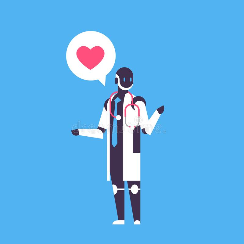 Robot doctor bot helper personal assistant chat bubble medical online consultation robotic character artificial. Intelligence concept blue background flat full stock illustration
