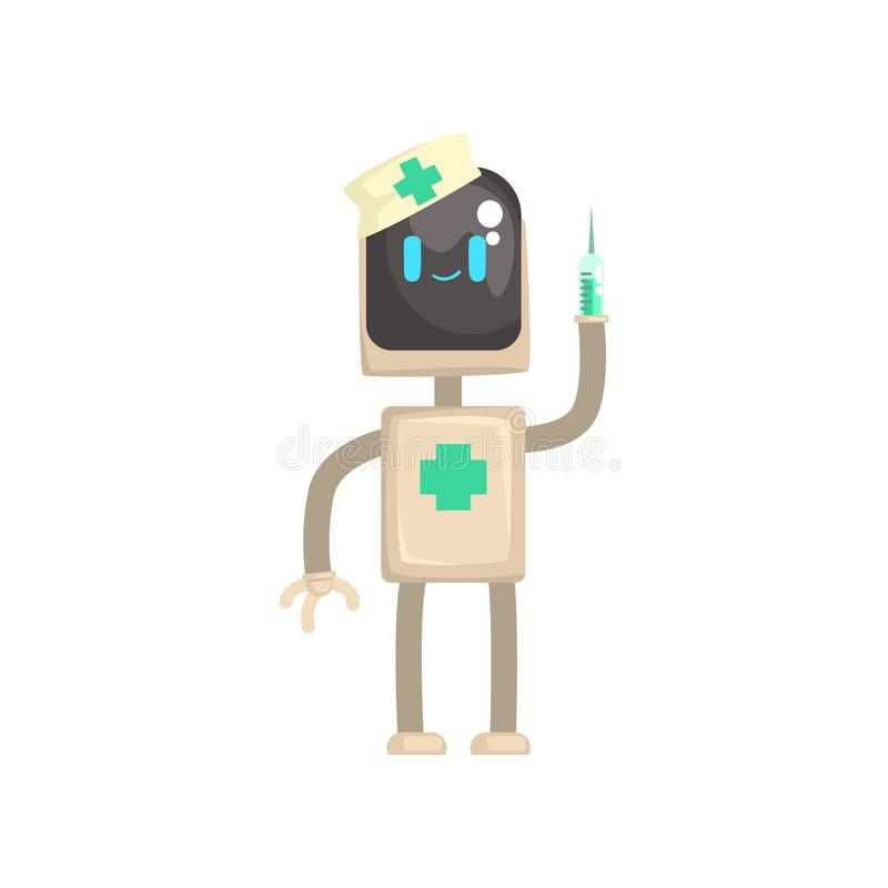 Robot doctor character, android with syringe in its hands cartoon vector illustration vector illustration