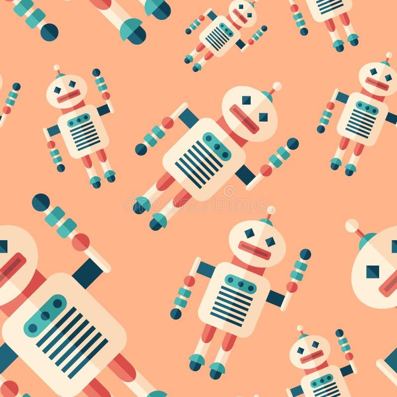 Robot doctor flat icon seamless pattern. stock illustration