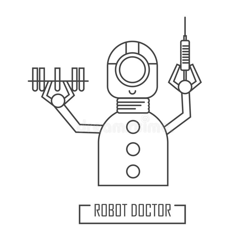 Robot doctor with a syringe. Vector illustration royalty free illustration