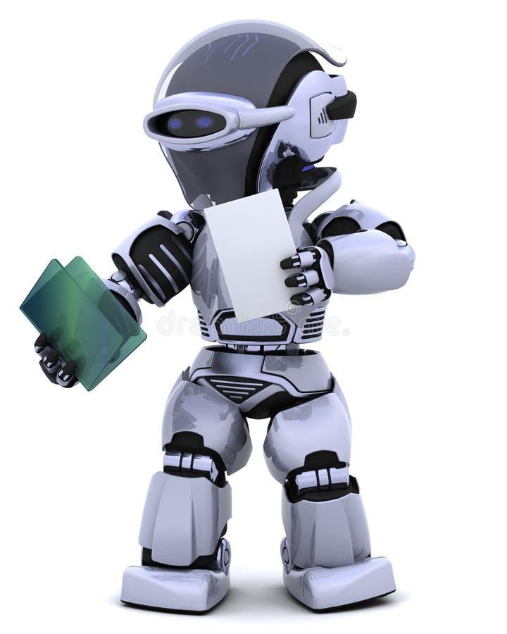 Robot with document folder stock illustration