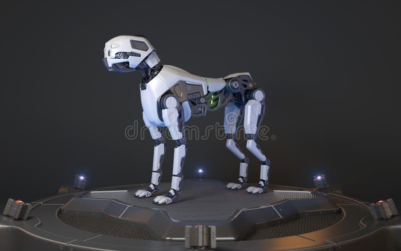 Robot dog stands on a charging dock. 3D illustration vector illustration
