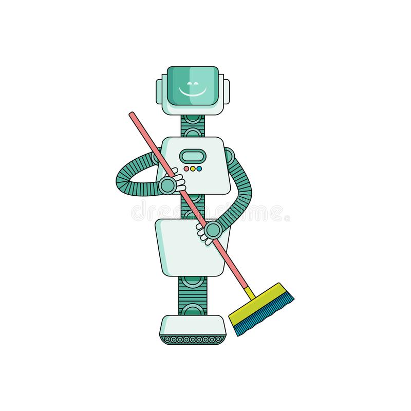Robot doing housework on cleaning house - sweeping floor with broom isolated on white background. vector illustration