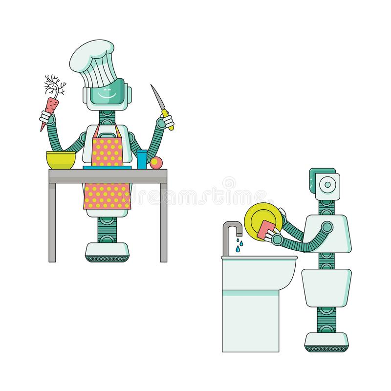Robot doing housework collection - android housekeeper prepares food and washes dishes. stock illustration