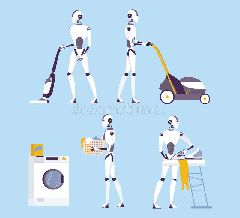 Robot doing housework. Robotic housekeeping. Robot doing home cleanup, laundry. stock illustration