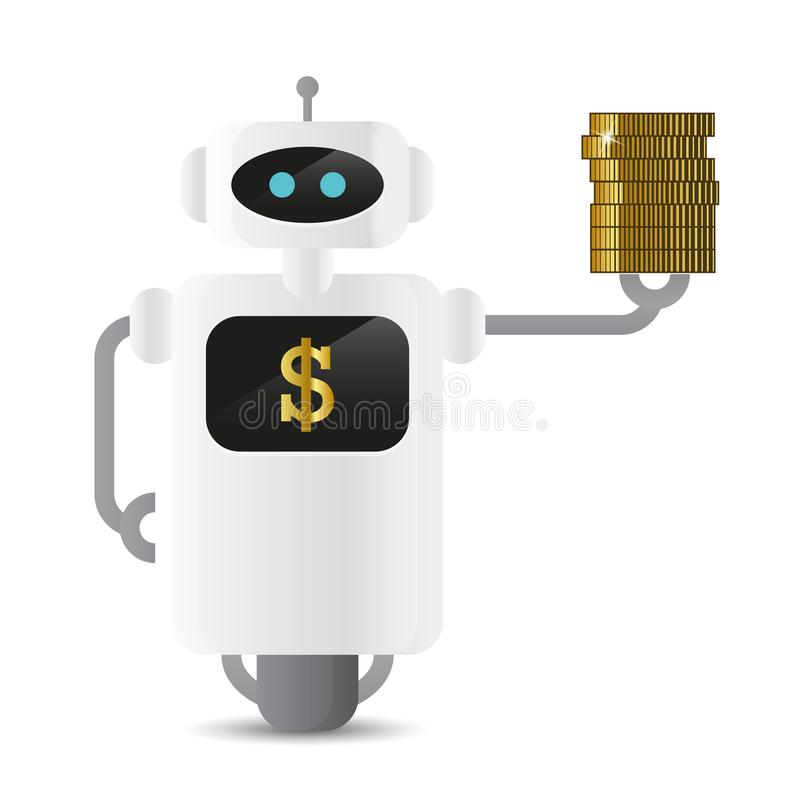 Robot with dollar golden coins royalty free illustration