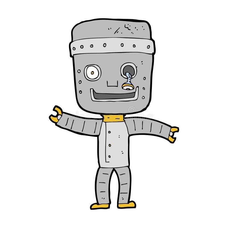 robot drôle de bande dessinée vieux illustration libre de droits