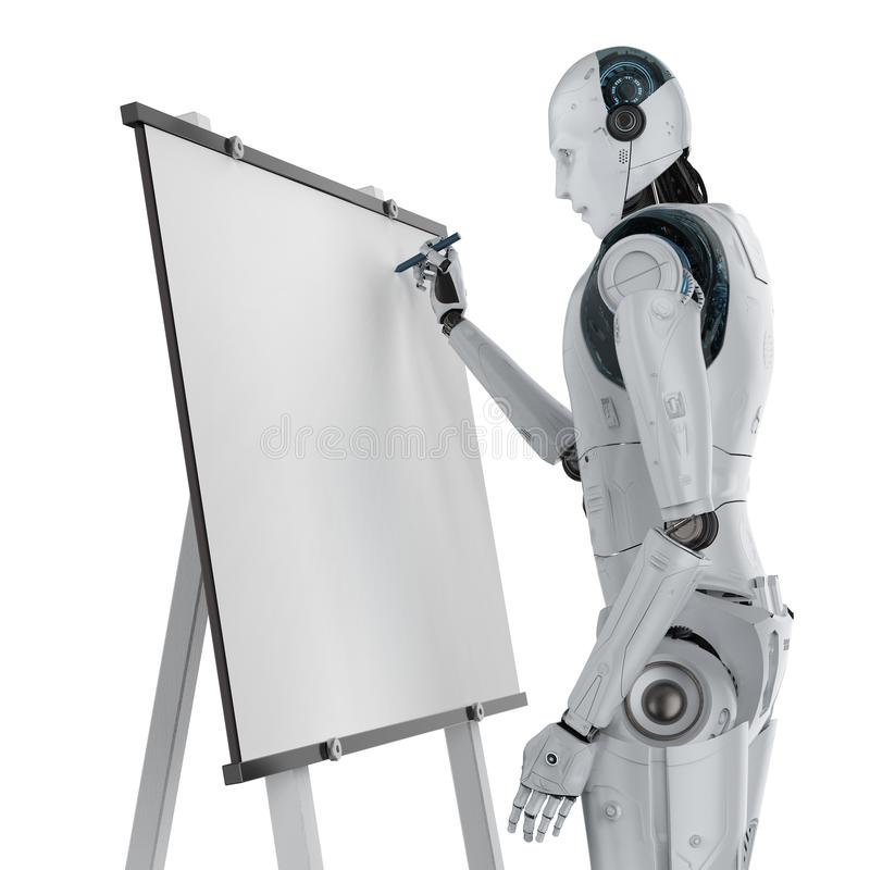 Robot drawing on canvas stock photos