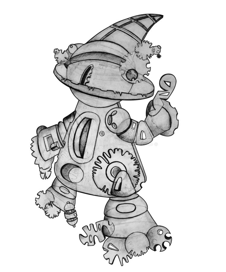 Robot is drawn in pencil on a white background, Isolated royalty free illustration