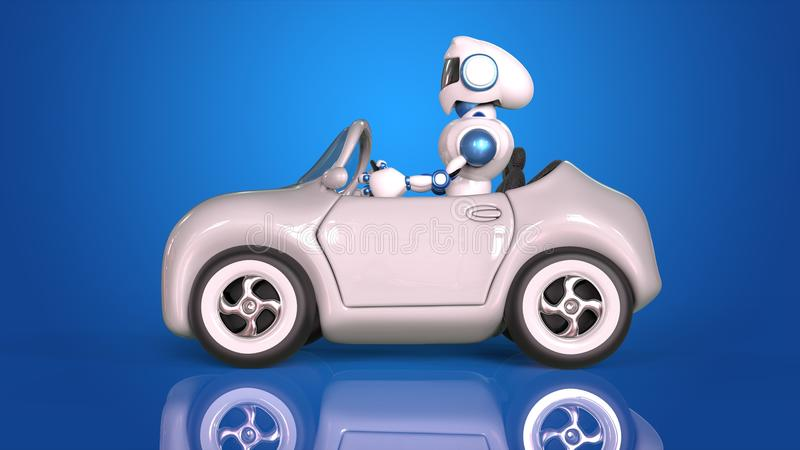 Robot driving vector illustration