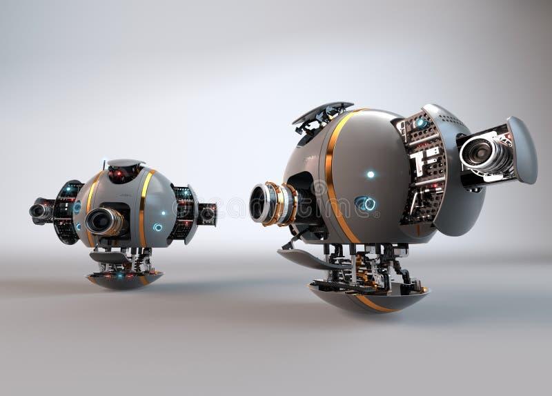 robot droid Flygkamerasurr stock illustrationer