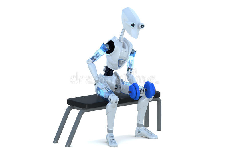 Robot with Dumbbell royalty free stock image