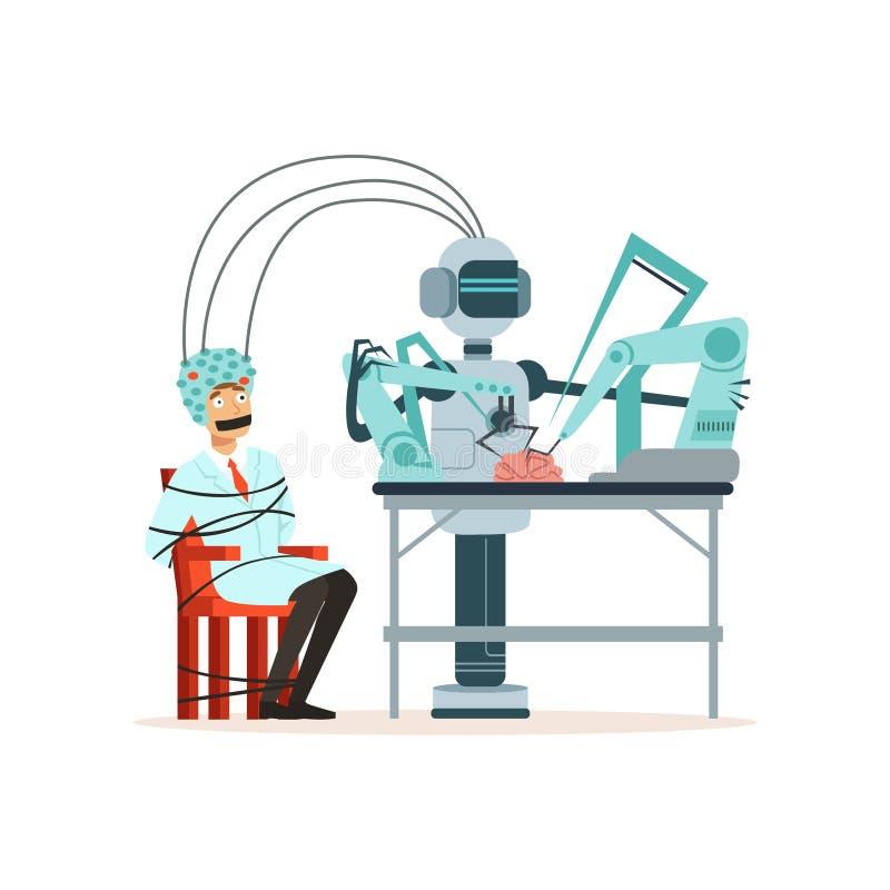 Robot dyrygentury eksperyment w laboratorium, mężczyzna wiązał up z linowym obsiadaniem w hełmie dla mózg badania, sztucznym royalty ilustracja
