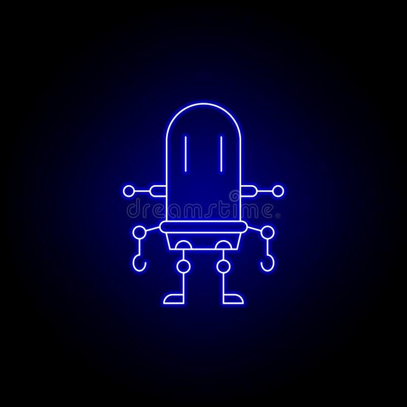 robot, dziecko kreskowa ikona w błękitnym neonowym stylu Znaki i symbole mog? u?ywa? dla sieci, logo, mobilny app, UI, UX ilustracja wektor