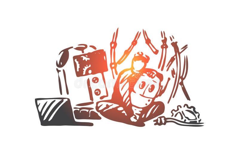 Robot, dziecko, naprawa, nauka, sztuki pojęcie Ręka rysujący odosobniony wektor ilustracja wektor