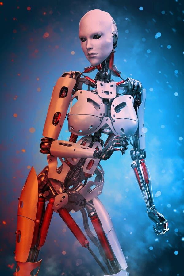 Robot dziewczyna na gorącym i zimnym clould ilustracja wektor