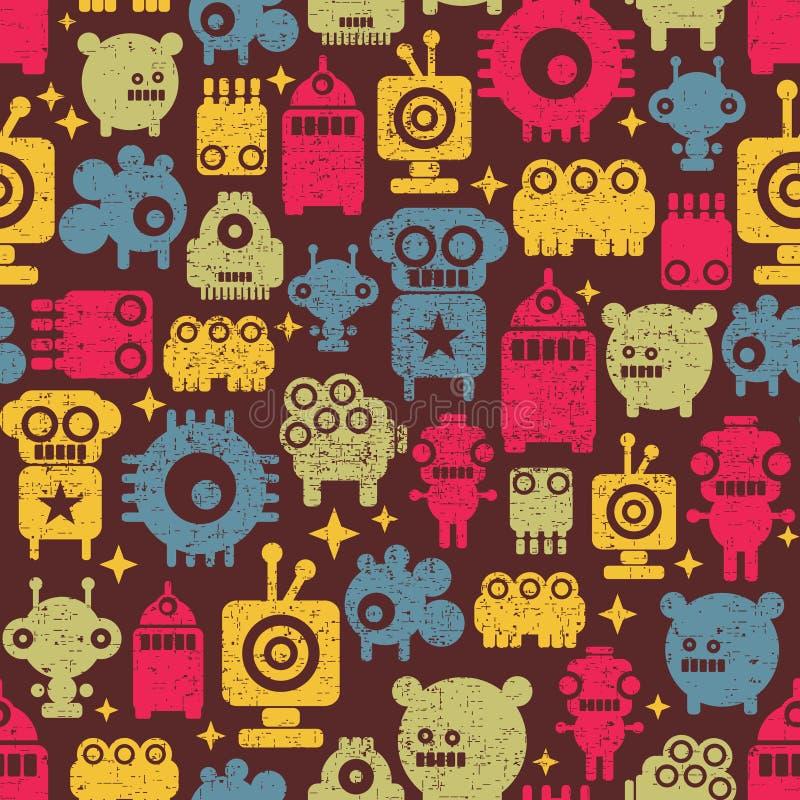 Robot e mostri. illustrazione di stock